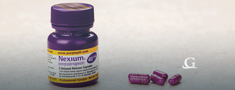 Purple Nexium Tablets Stock Photo